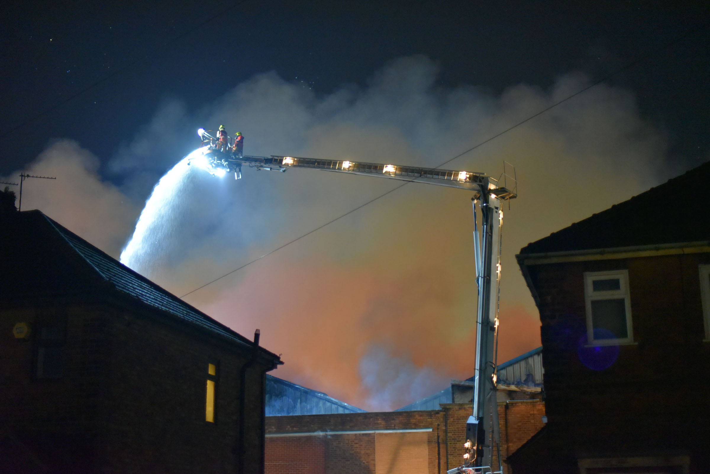 © Ben Earlam - 07548987974 . 13/11/2018. Manchester, UK. Firefighters tacle a 100m x 100m blaze in Little Hulton Manchester. Just after midnight firefighters were called to the incident at PJH holdings Photo credit : Ben Earlam